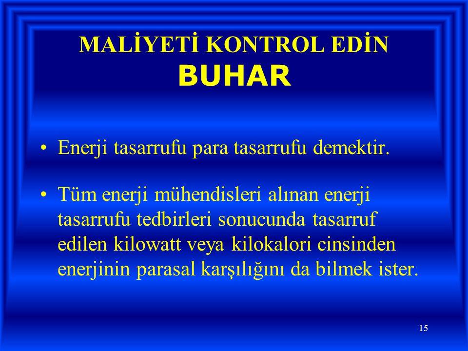 MALİYETİ KONTROL EDİN BUHAR