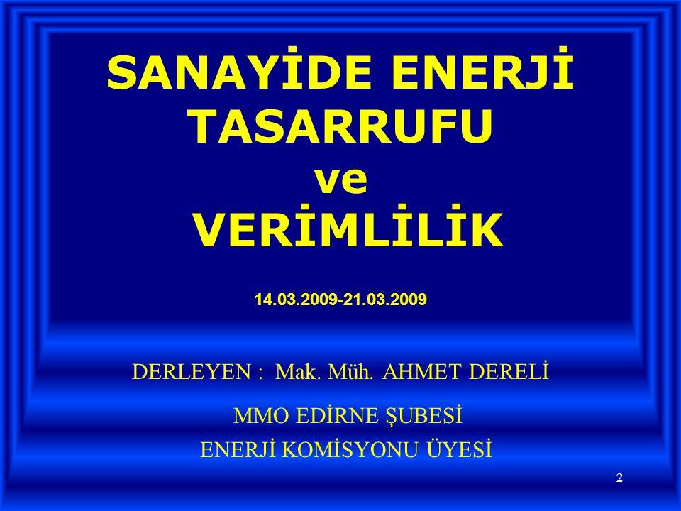 SANAYİDE ENERJİ TASARRUFU ve VERİMLİLİK 14.03.2009-21.03.2009