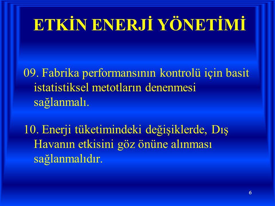 ETKİN ENERJİ YÖNETİMİ 09. Fabrika performansının kontrolü için basit istatistiksel metotların denenmesi sağlanmalı.