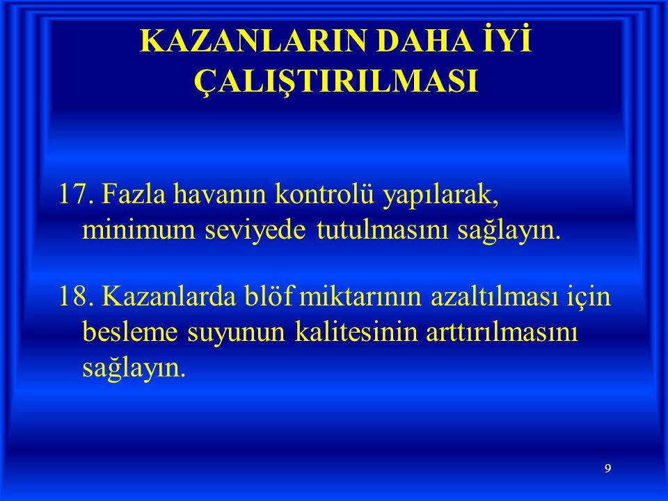 KAZANLARIN DAHA İYİ ÇALIŞTIRILMASI