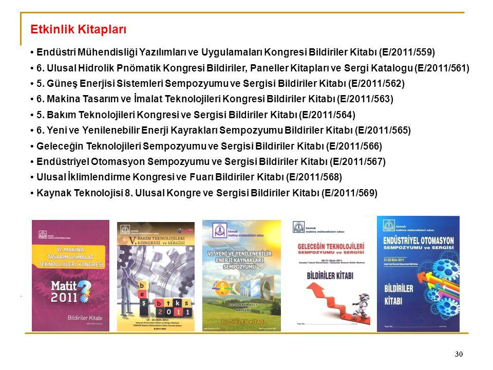 Etkinlik Kitapları • Endüstri Mühendisliği Yazılımları ve Uygulamaları Kongresi Bildiriler Kitabı (E/2011/559)