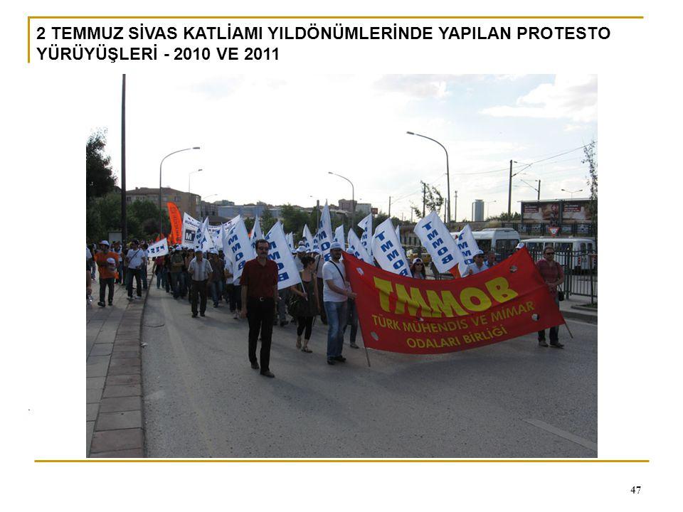 2 TEMMUZ SİVAS KATLİAMI YILDÖNÜMLERİNDE YAPILAN PROTESTO YÜRÜYÜŞLERİ - 2010 VE 2011