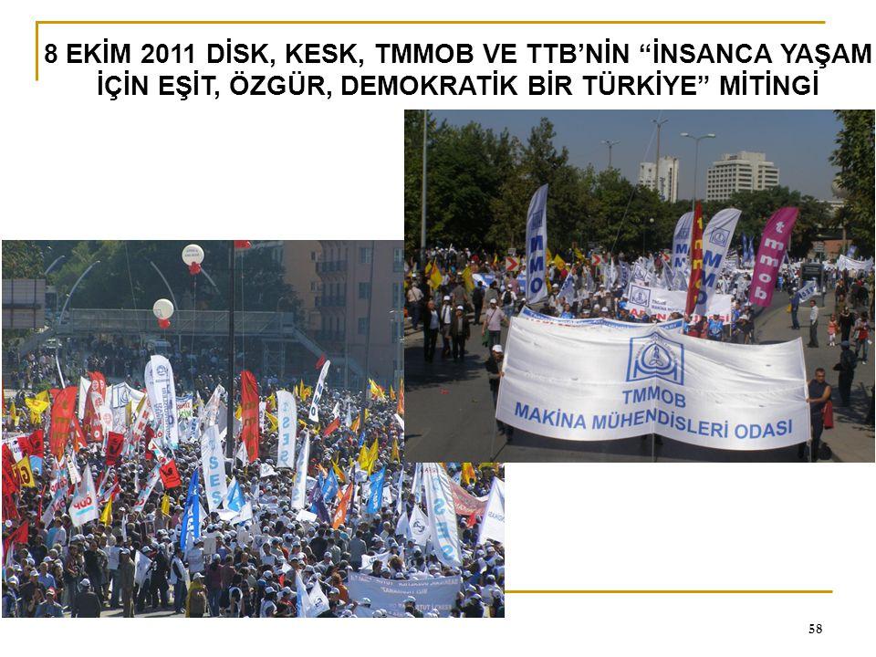 8 EKİM 2011 DİSK, KESK, TMMOB VE TTB'NİN İNSANCA YAŞAM İÇİN EŞİT, ÖZGÜR, DEMOKRATİK BİR TÜRKİYE MİTİNGİ
