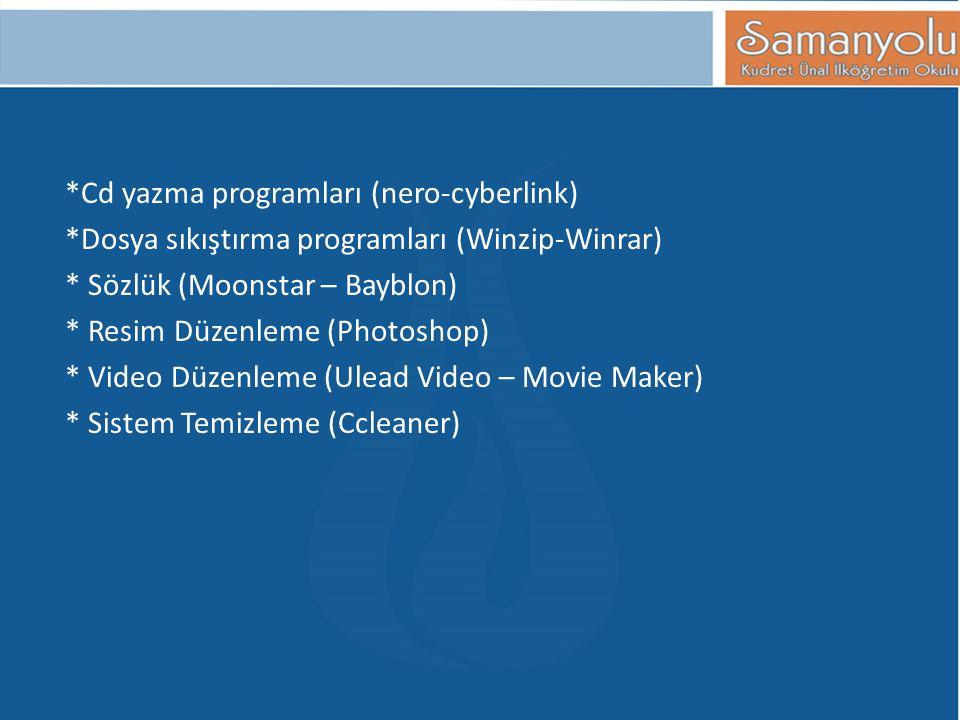 *Cd yazma programları (nero-cyberlink)