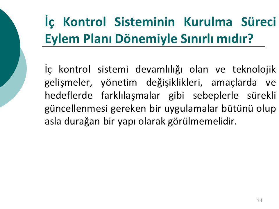 İç Kontrol Sisteminin Kurulma Süreci Eylem Planı Dönemiyle Sınırlı mıdır
