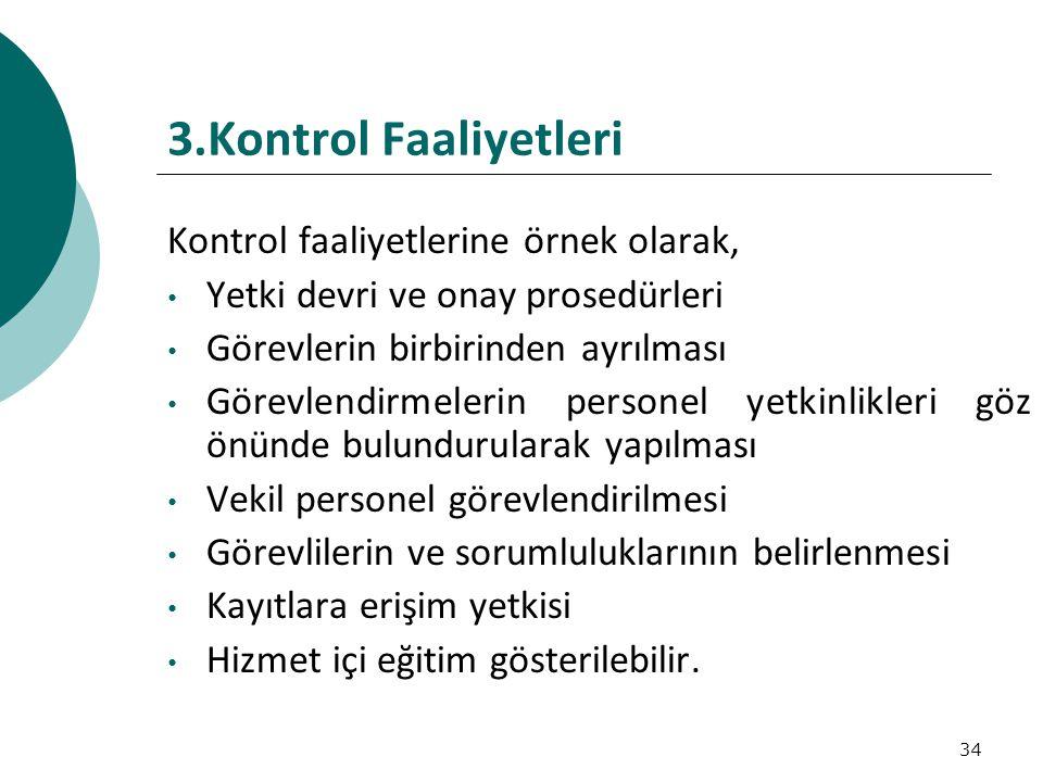 3.Kontrol Faaliyetleri Kontrol faaliyetlerine örnek olarak,
