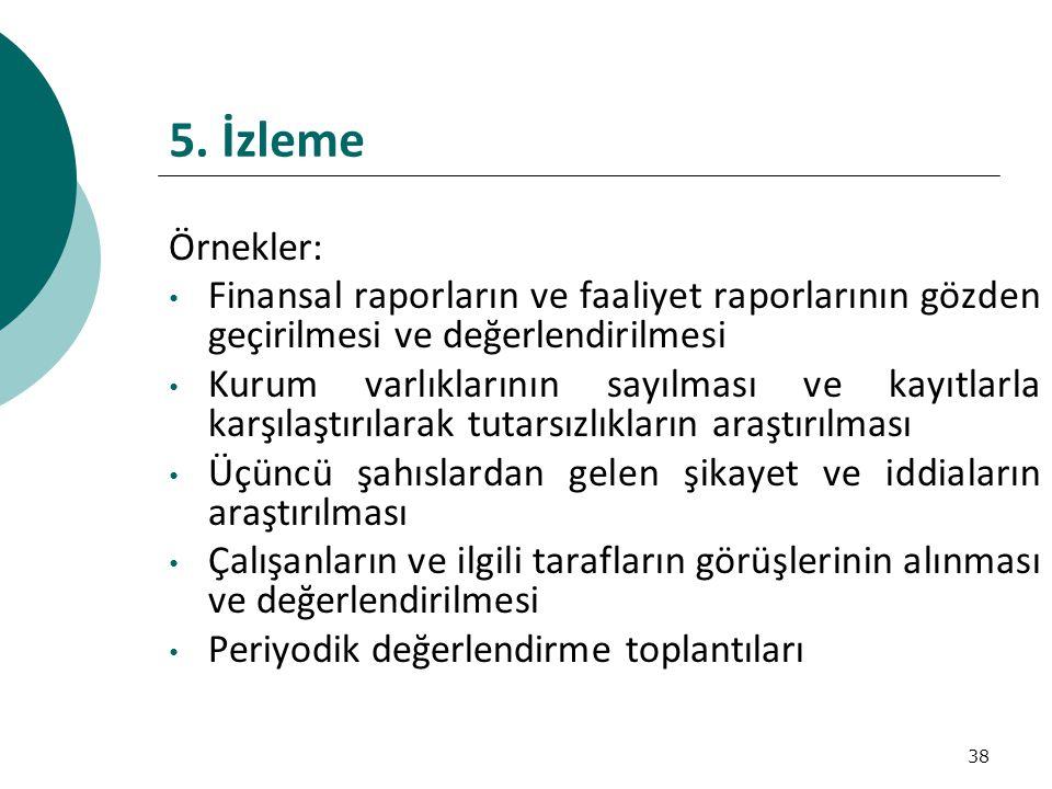 5. İzleme Örnekler: Finansal raporların ve faaliyet raporlarının gözden geçirilmesi ve değerlendirilmesi.