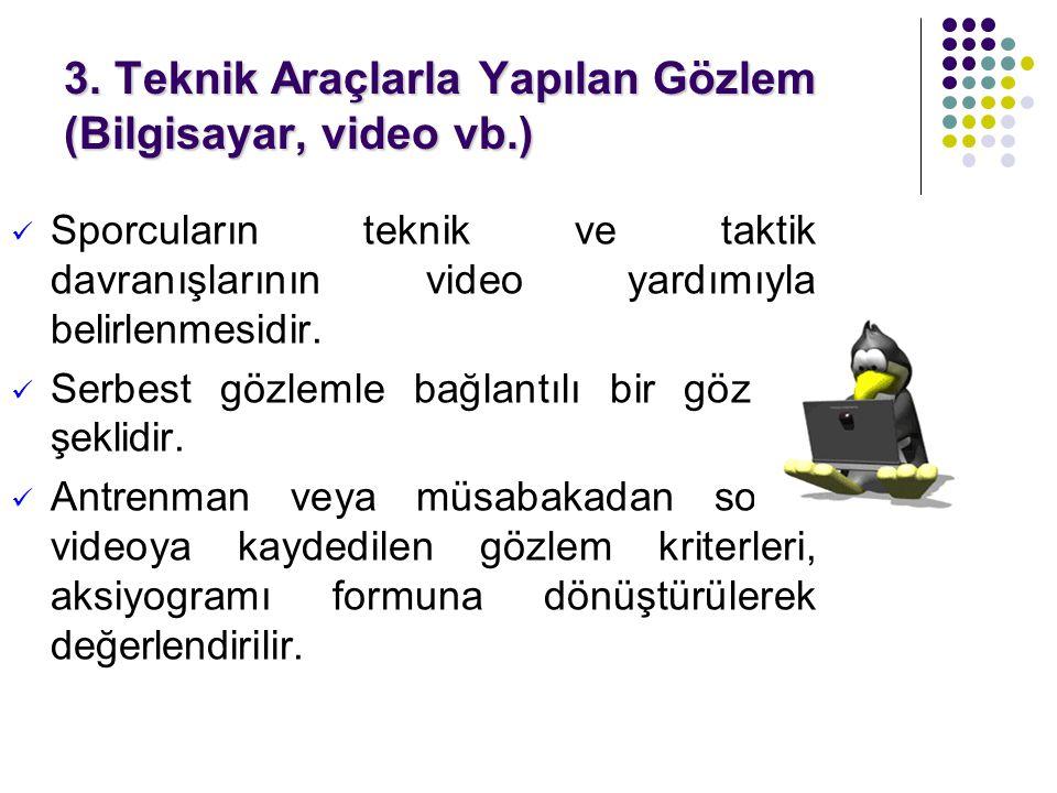 3. Teknik Araçlarla Yapılan Gözlem (Bilgisayar, video vb.)