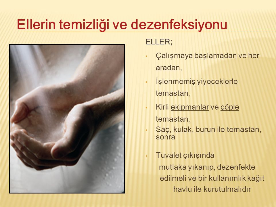 Ellerin temizliği ve dezenfeksiyonu