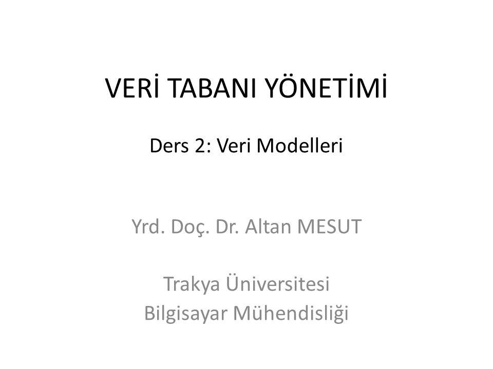 VERİ TABANI YÖNETİMİ Ders 2: Veri Modelleri