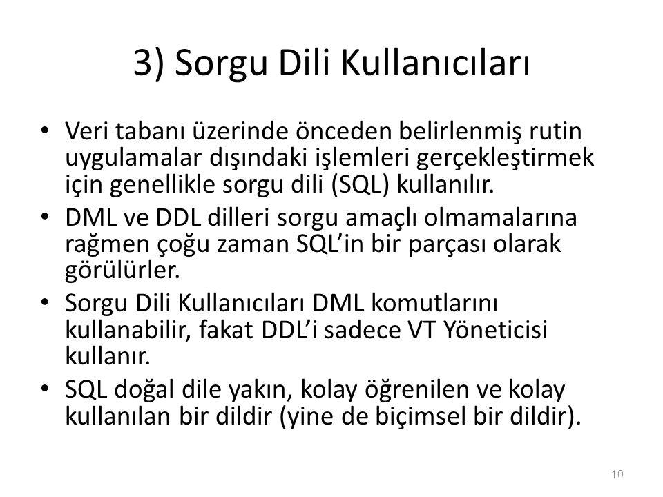 3) Sorgu Dili Kullanıcıları