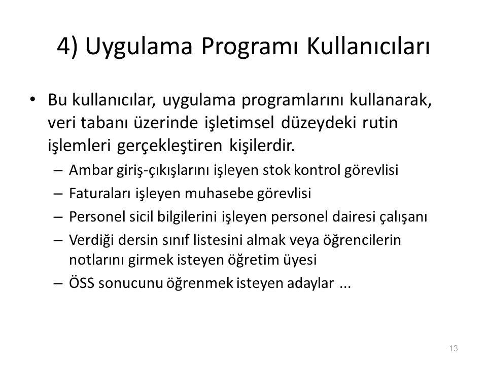 4) Uygulama Programı Kullanıcıları