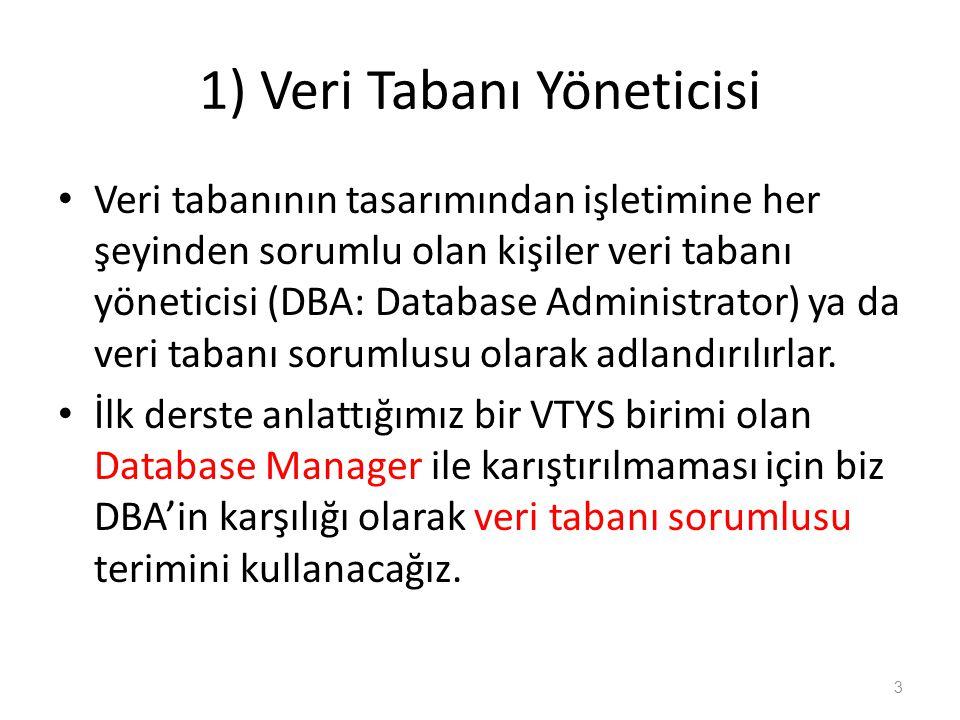 1) Veri Tabanı Yöneticisi