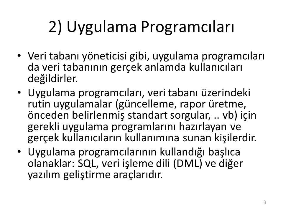 2) Uygulama Programcıları