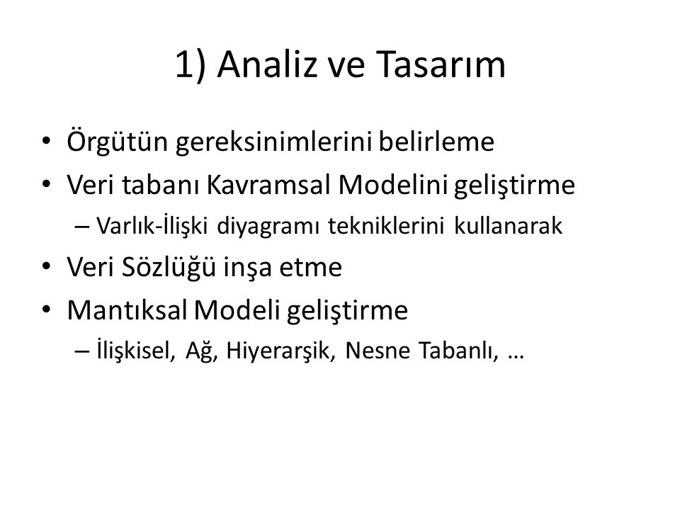1) Analiz ve Tasarım Örgütün gereksinimlerini belirleme
