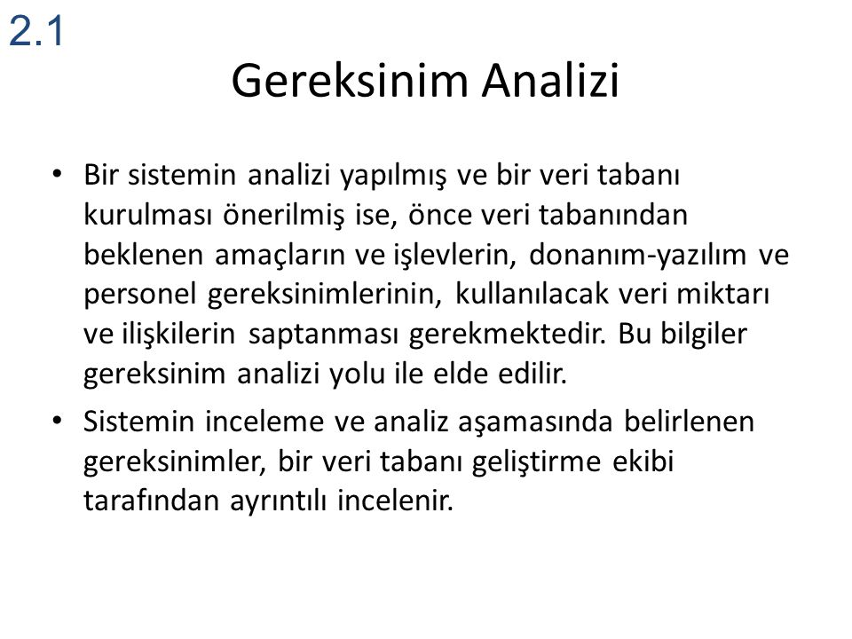2.1 Gereksinim Analizi.