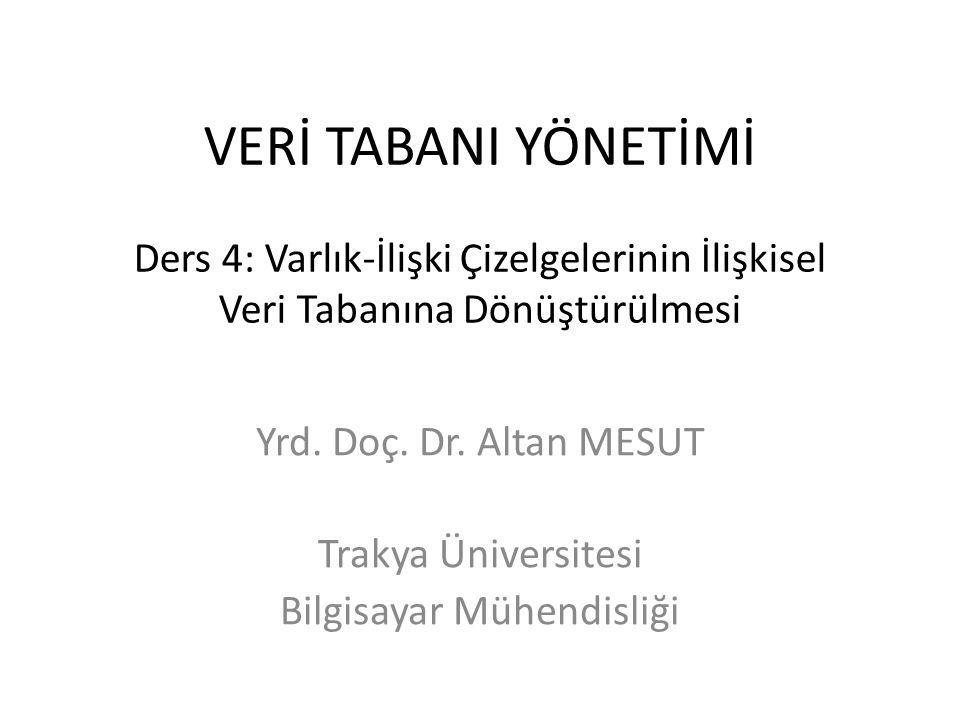 Yrd. Doç. Dr. Altan MESUT Trakya Üniversitesi Bilgisayar Mühendisliği