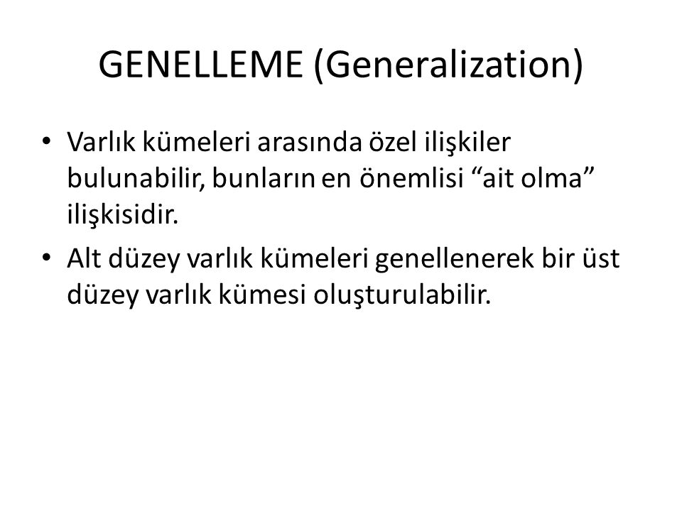 GENELLEME (Generalization)