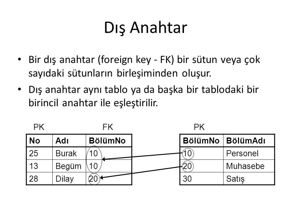 Dış Anahtar Bir dış anahtar (foreign key - FK) bir sütun veya çok sayıdaki sütunların birleşiminden oluşur.