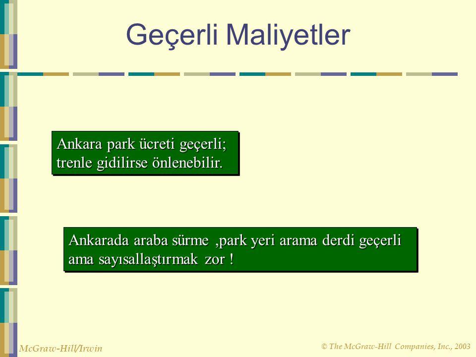 Geçerli Maliyetler Ankara park ücreti geçerli; trenle gidilirse önlenebilir.