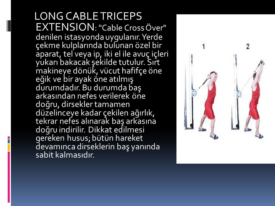 LONG CABLE TRICEPS EXTENSION: Cable Cross Över denilen istasyonda uygulanır.