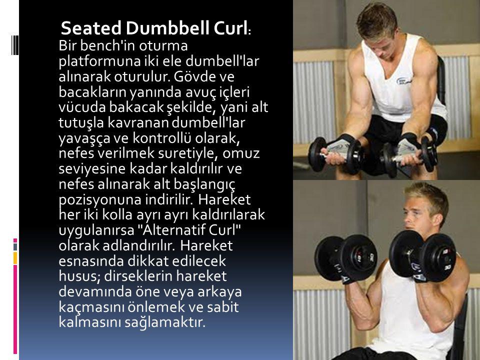 Seated Dumbbell Curl: Bir bench in oturma platformuna iki ele dumbell lar alınarak oturulur.