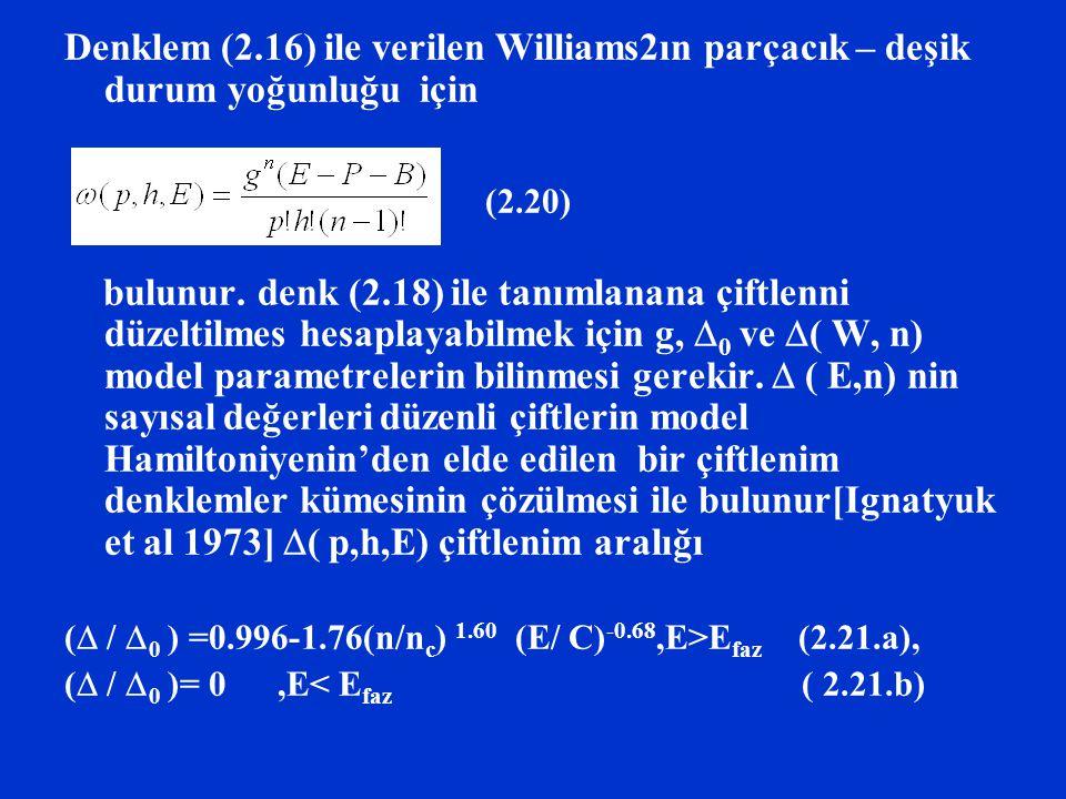 Denklem (2.16) ile verilen Williams2ın parçacık – deşik durum yoğunluğu için