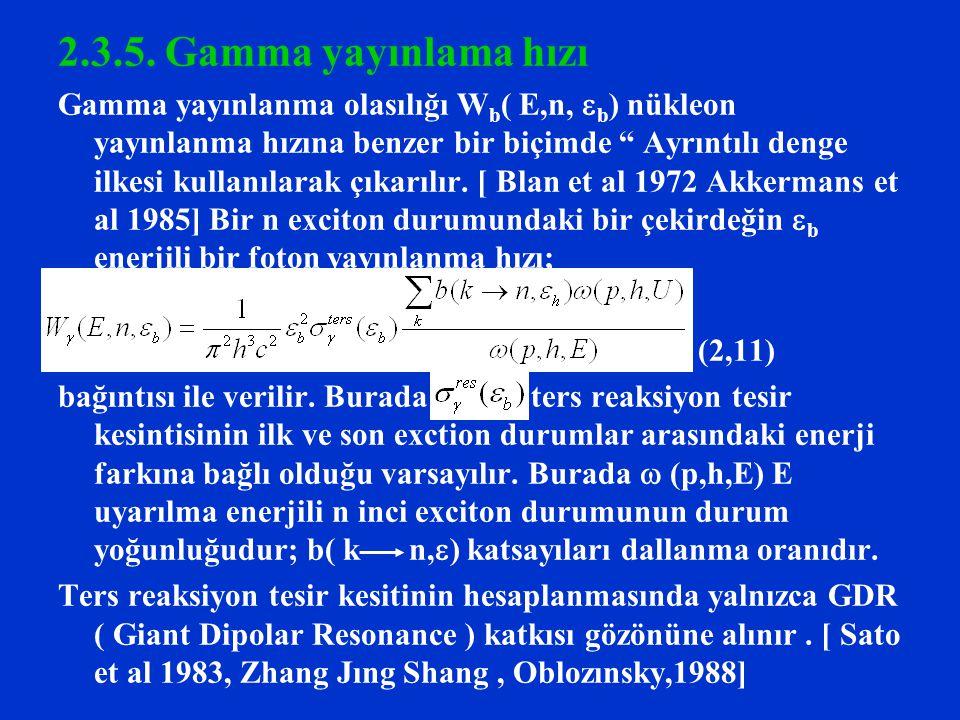 2.3.5. Gamma yayınlama hızı