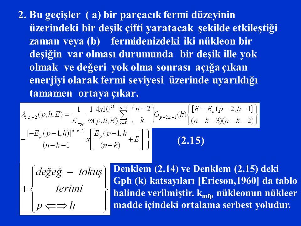 2. Bu geçişler ( a) bir parçacık fermi düzeyinin üzerindeki bir deşik çifti yaratacak şekilde etkileştiği zaman veya (b) fermidenizdeki iki nükleon bir deşiğin var olması durumunda bir deşik ille yok olmak ve değeri yok olma sonrası açığa çıkan enerjiyi olarak fermi seviyesi üzerinde uyarıldığı tamamen ortaya çıkar.