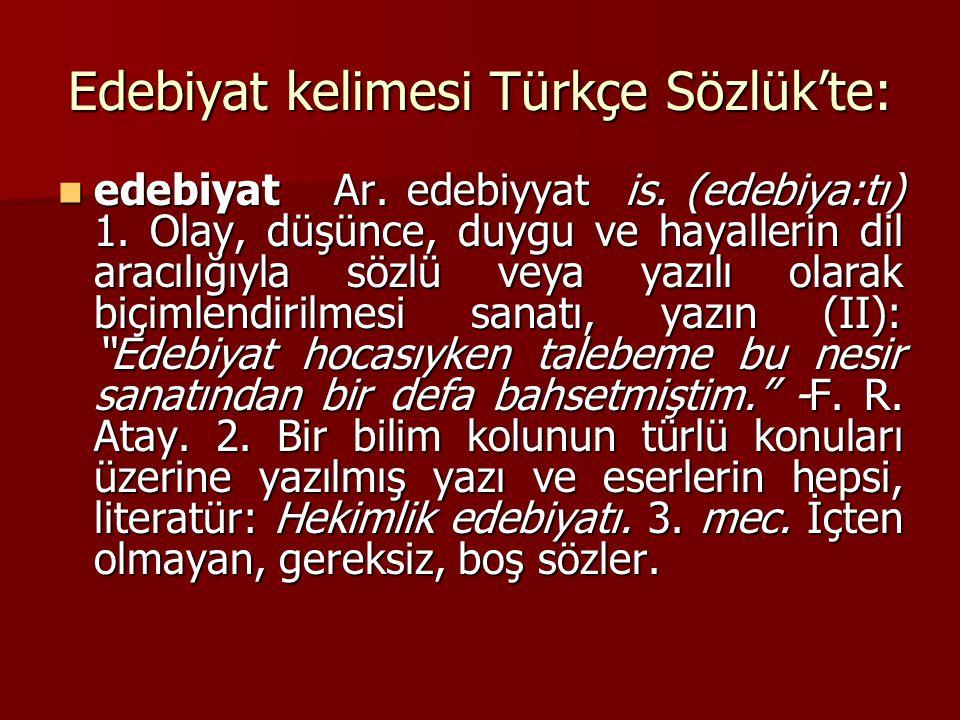 Edebiyat kelimesi Türkçe Sözlük'te: