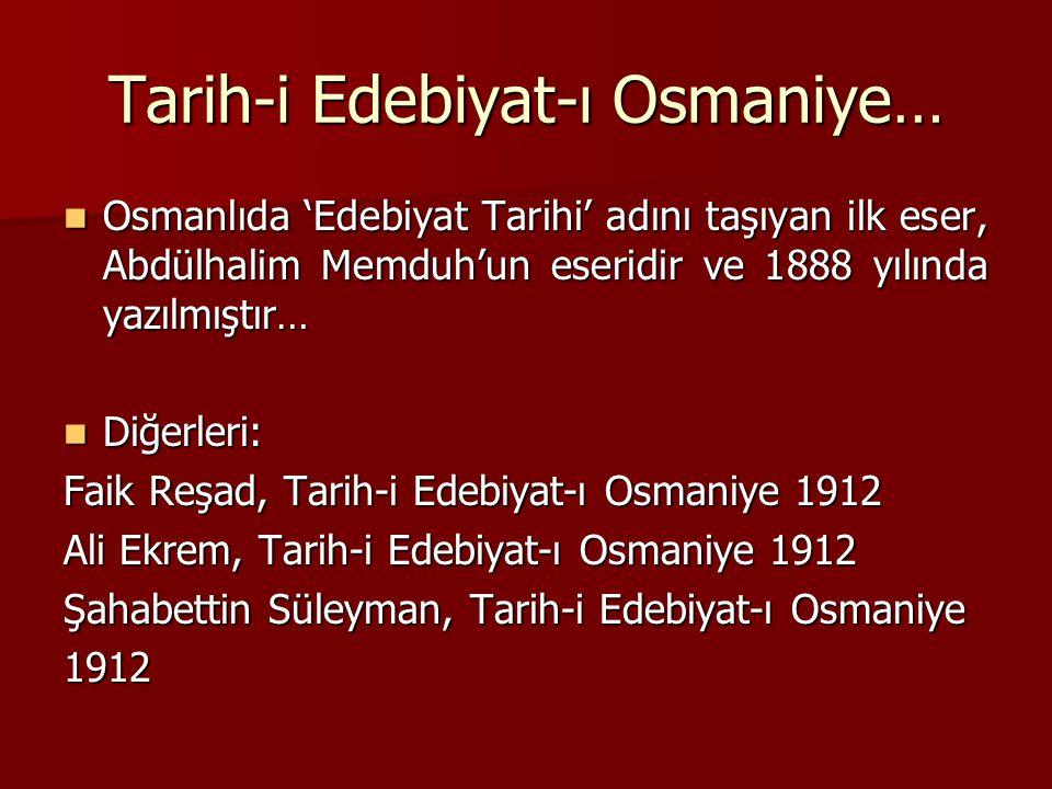 Tarih-i Edebiyat-ı Osmaniye…