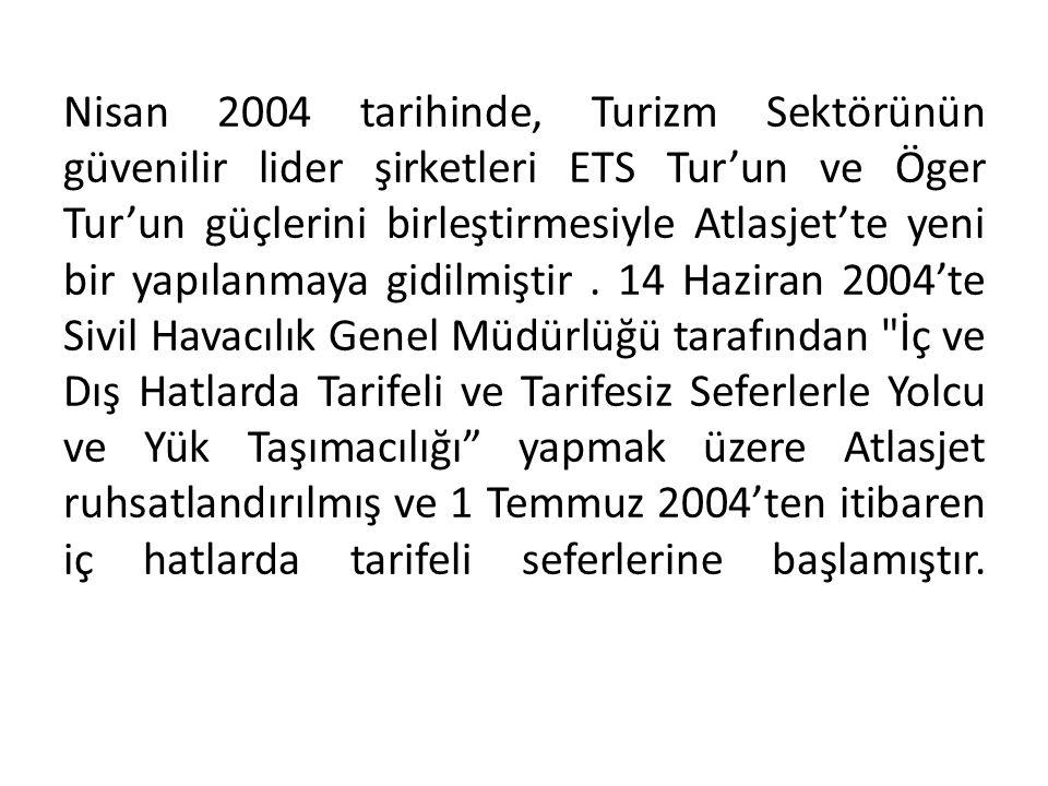 Nisan 2004 tarihinde, Turizm Sektörünün güvenilir lider şirketleri ETS Tur'un ve Öger Tur'un güçlerini birleştirmesiyle Atlasjet'te yeni bir yapılanmaya gidilmiştir .