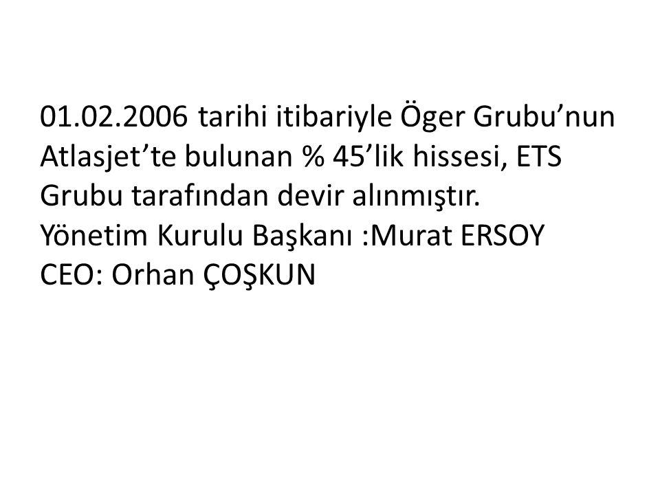 01.02.2006 tarihi itibariyle Öger Grubu'nun Atlasjet'te bulunan % 45'lik hissesi, ETS Grubu tarafından devir alınmıştır.