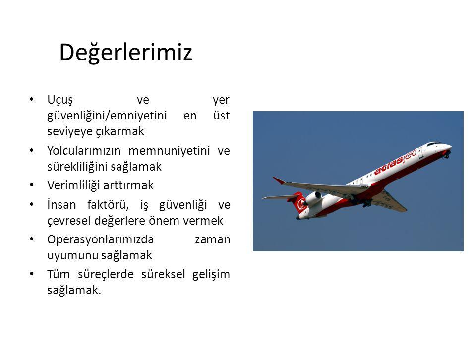 Değerlerimiz Uçuş ve yer güvenliğini/emniyetini en üst seviyeye çıkarmak. Yolcularımızın memnuniyetini ve sürekliliğini sağlamak.