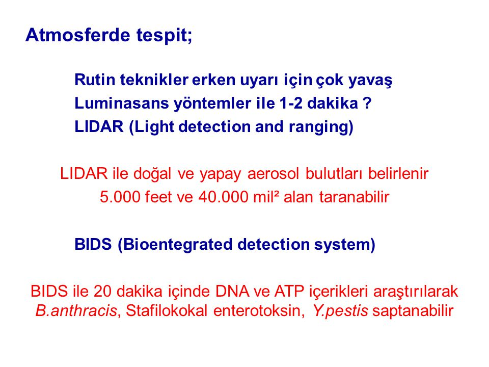 Atmosferde tespit; Luminasans yöntemler ile 1-2 dakika