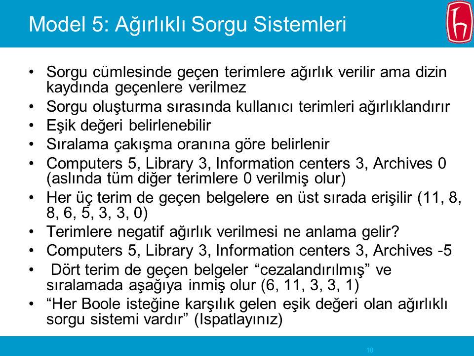 Model 5: Ağırlıklı Sorgu Sistemleri