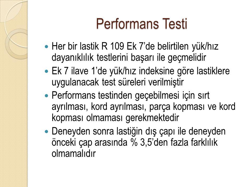 Performans Testi Her bir lastik R 109 Ek 7'de belirtilen yük/hız dayanıklılık testlerini başarı ile geçmelidir.