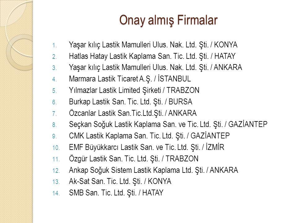 Onay almış Firmalar Yaşar kılıç Lastik Mamulleri Ulus. Nak. Ltd. Şti. / KONYA. Hatlas Hatay Lastik Kaplama San. Tic. Ltd. Şti. / HATAY.