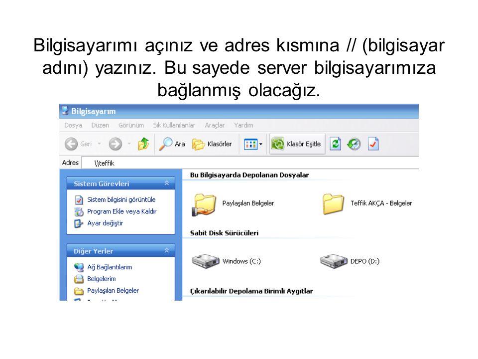 Bilgisayarımı açınız ve adres kısmına // (bilgisayar adını) yazınız