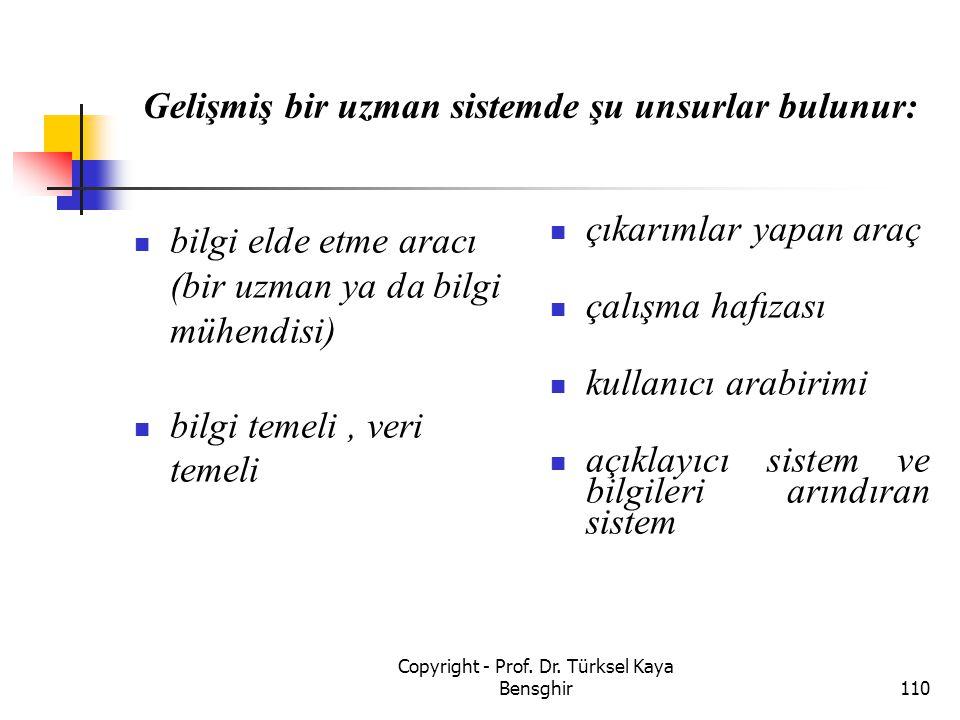 Gelişmiş bir uzman sistemde şu unsurlar bulunur:
