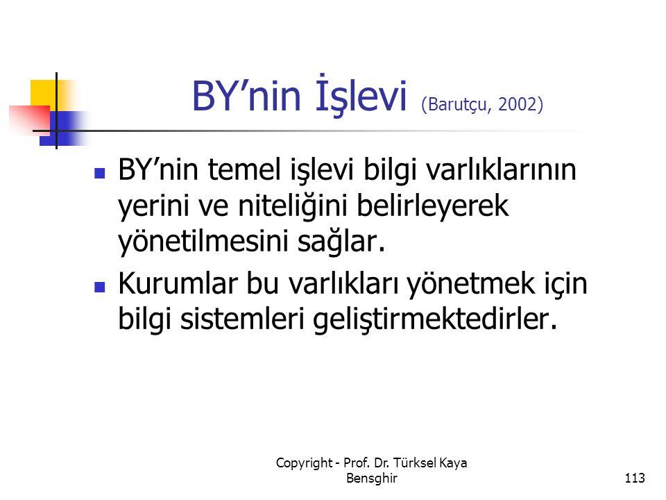 BY'nin İşlevi (Barutçu, 2002)