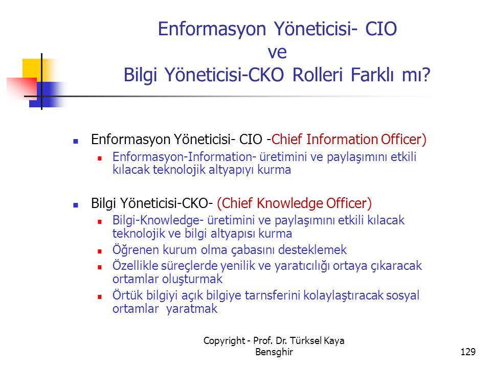 Enformasyon Yöneticisi- CIO ve Bilgi Yöneticisi-CKO Rolleri Farklı mı