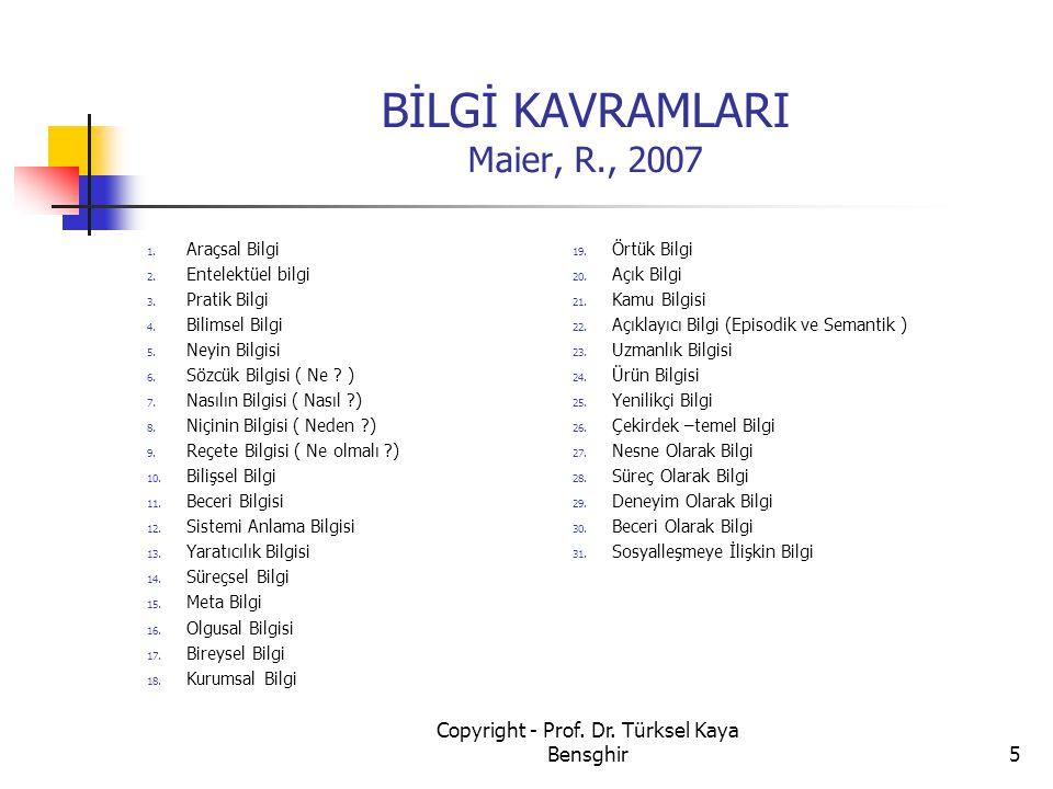 BİLGİ KAVRAMLARI Maier, R., 2007
