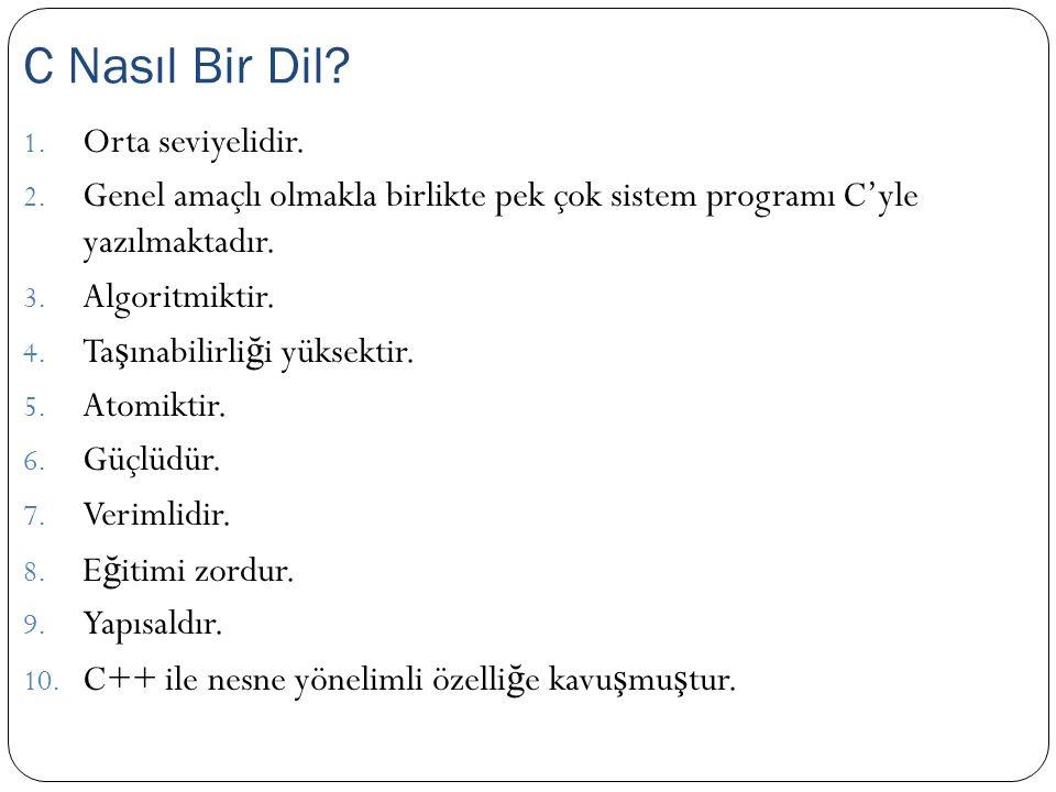C Nasıl Bir Dil Orta seviyelidir.