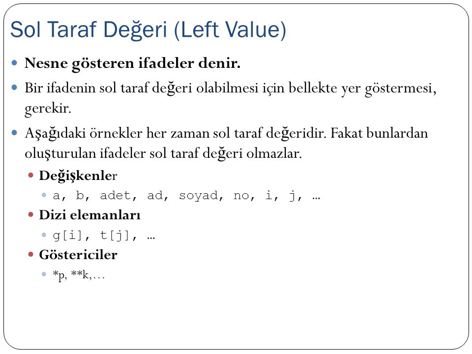 Sol Taraf Değeri (Left Value)