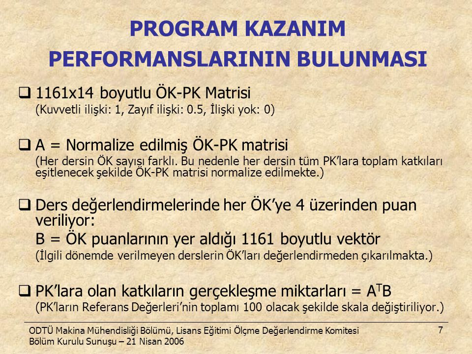 PROGRAM KAZANIM PERFORMANSLARININ BULUNMASI