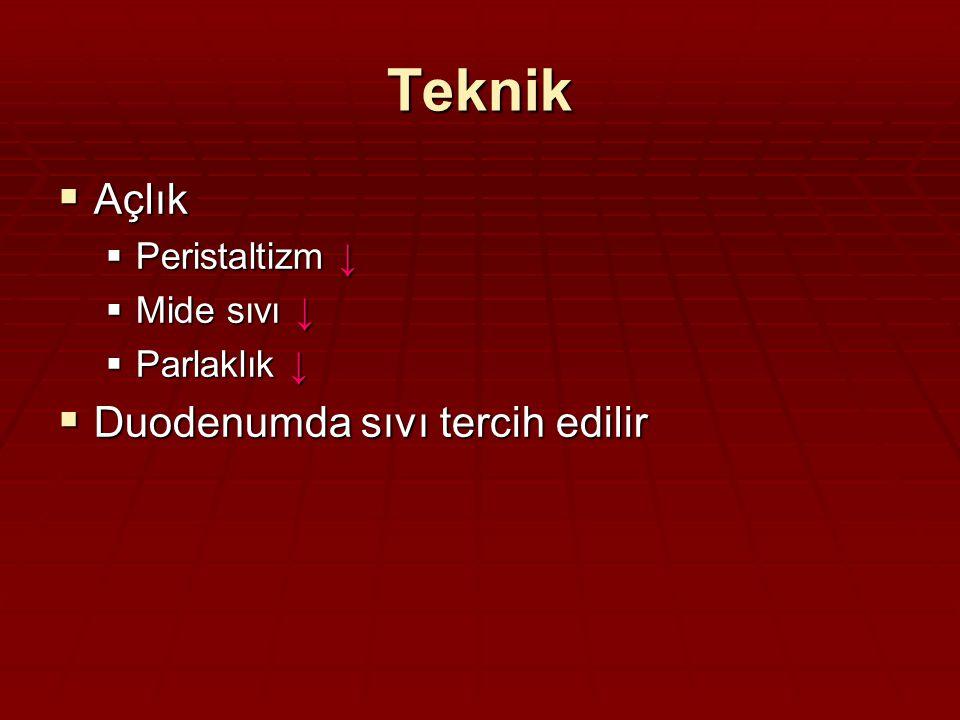 Teknik Açlık Duodenumda sıvı tercih edilir Peristaltizm ↓ Mide sıvı ↓