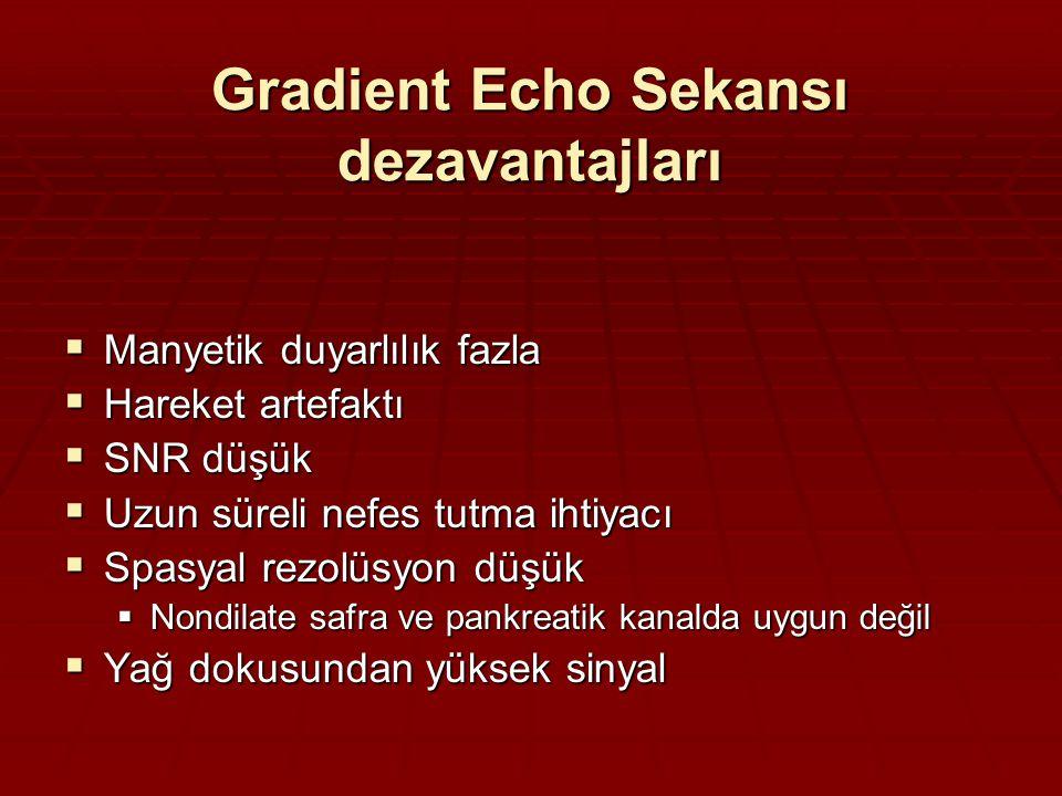 Gradient Echo Sekansı dezavantajları