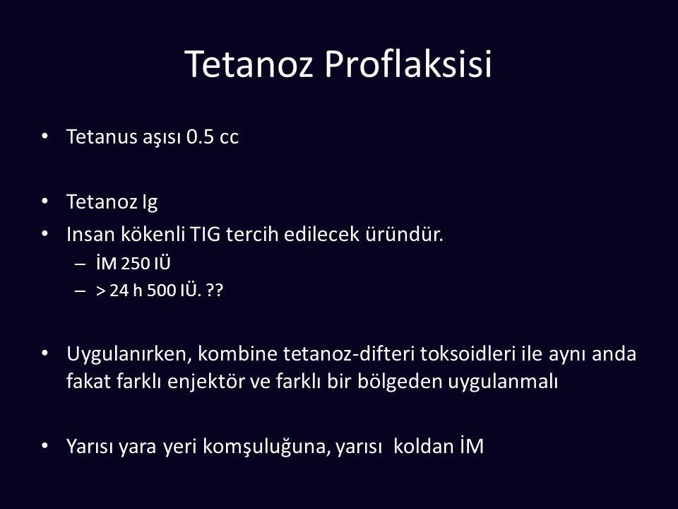 Tetanoz Proflaksisi Tetanus aşısı 0.5 cc Tetanoz Ig