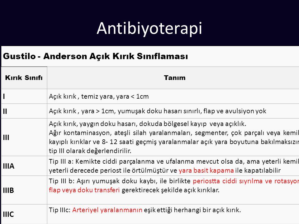 Antibiyoterapi Gustilo - Anderson Açık Kırık Sınıflaması I II III IIIA